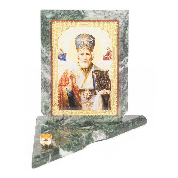 Икона с подсвечником Николай Чудотворец средняя