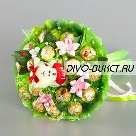 """Букет из конфет с игрушкой №703-1К """"Сказочный сад"""""""