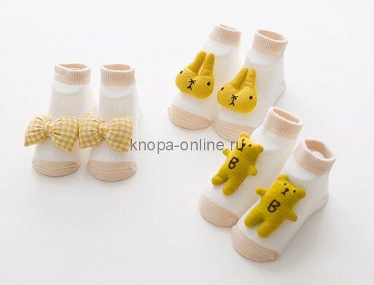 Носочки с игрушкой, набор - 3 шт., желтый