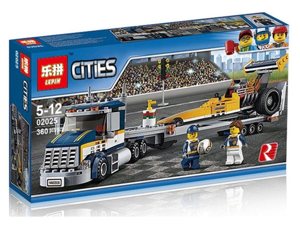 Конструктор Lepin Cities 02025 Грузовик для перевозки драгстера 360 деталей ( CITY 60151 )