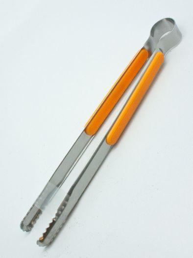 Щипцы для угляс пластиковыми вставками оранжевые 25см