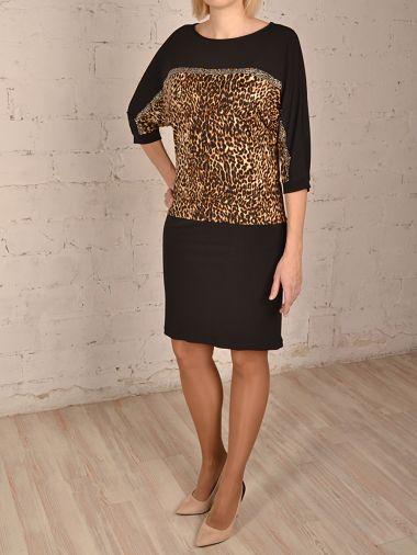 Комбинированное трикотажное платье длиной выше колена