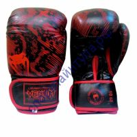 Боксерские перчатки VENUM кожа F788 12 oz красно-черные
