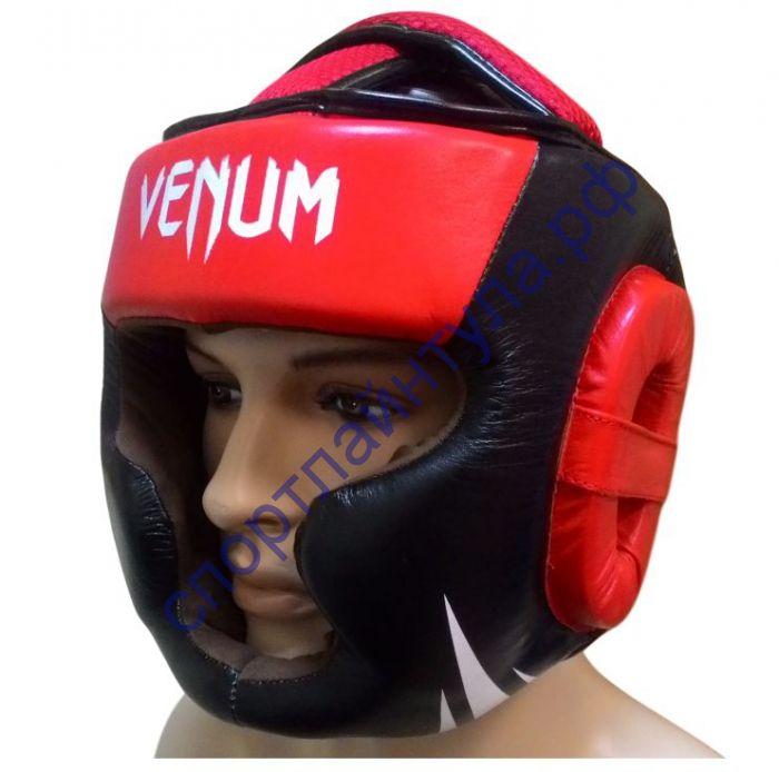 Шлем боевой VENUM кожа F791 черно-красный