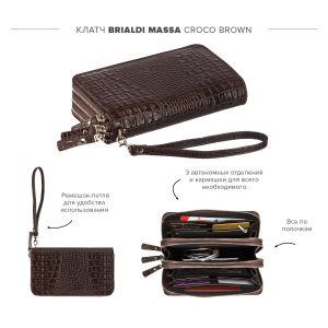 Вместительный клатч с 3-мя автономными отделениями BRIALDI Massa (Масса) croco brown