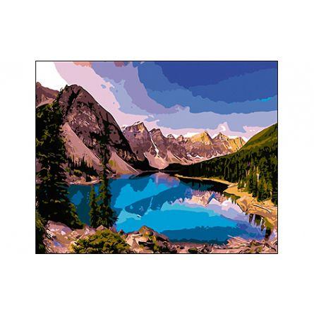 Роспись по холсту Кристальное озеро в горах 40х50см