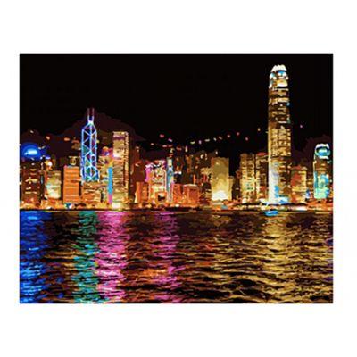 Роспись по холсту Ночной Гонконг 30х40см