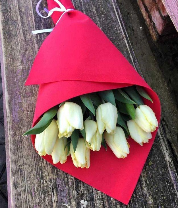 9 тюльпан в мягкой упаковке