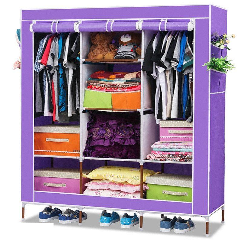 Складной каркасный тканевый шкаф STORAGE WARDROBE, цвет сиреневый