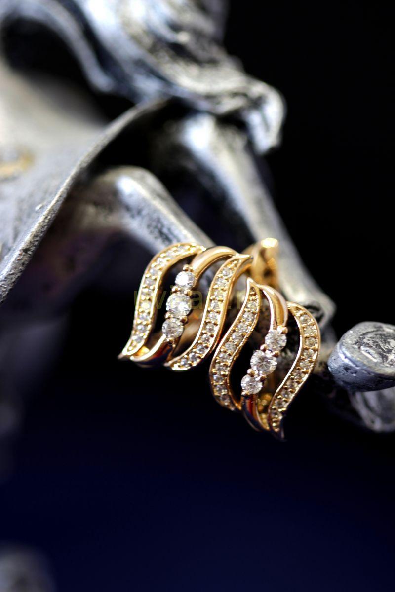 """Позолоченные серьги с искусственными бриллиантами """"Волна"""" (арт. 305107)"""