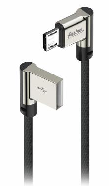 Кабель USB 2.0 - microUSB, 1м, угловой, тканевая оплетка, цвет черный, OLMIO