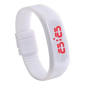 Спортивные силиконовые LED часы браслет белые