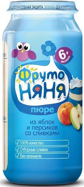 Пюре Фрутоняня яблоко персик сливки с 6мес. 250г