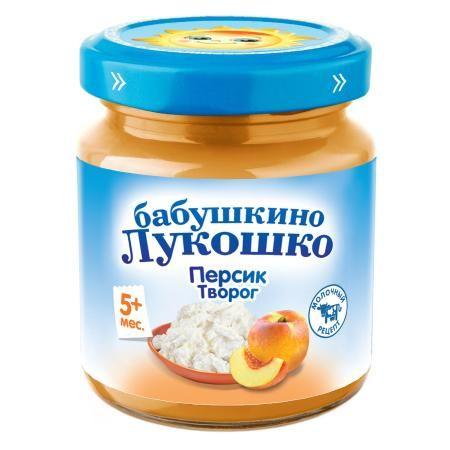 Пюре Бабушкино Лукошко из персиков с творогом 100г