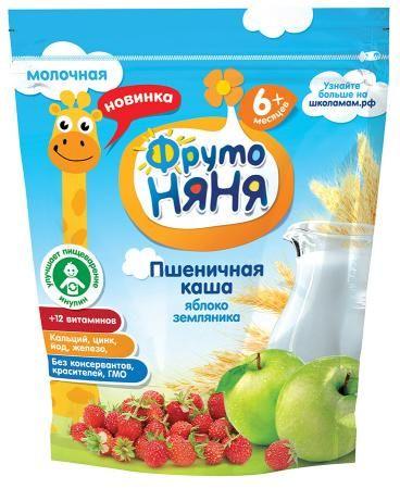 Каша Фрутоняня пшеничная яблоко/земляника/молоч с 6 мес. 200мл. Россия