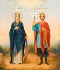 Икона Екатерина и Константин (копия старинной)