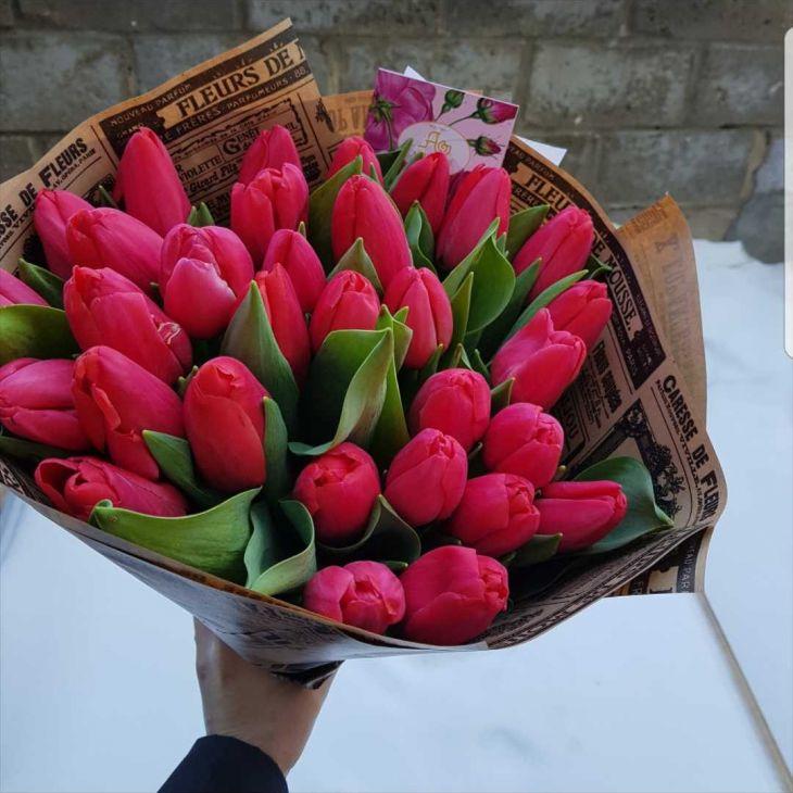 букет из 31 малинового тюльпана