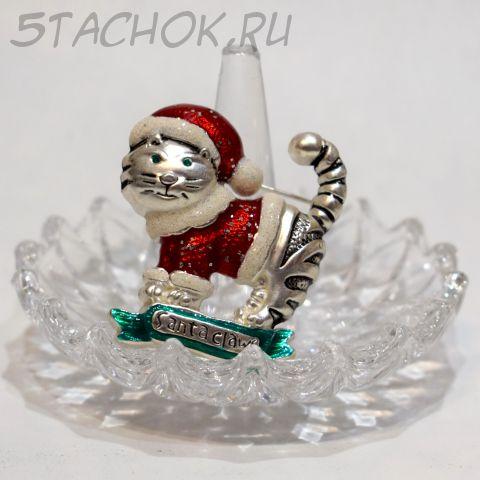 "Брошь ""Котик Санта-Клаус"" (США)"
