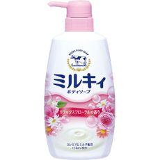 """Жидкое пенное мыло для тела c керамидами и молочными протеинами COW BRAND """"Milky"""", цветочный аромат, диспенсер 550 мл."""