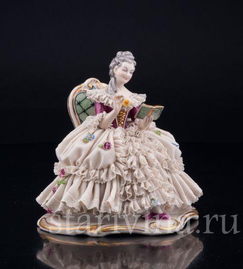 Изображение Девушка с книгой, кружевная, Дрезден, Германия, сер. 20 в