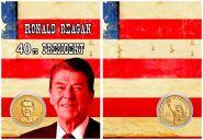 РОНАЛЬД РЕЙГАН - 40 президент США 1 ДОЛЛАР 2016 года UNC в ПОДАРОЧНОМ ПЛАНШЕТЕ