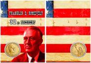 ФРАНКЛИН РУЗВЕЛЬТ - 32 президент США, 1 доллар 2015 года UNC в ПОДАРОЧНОМ ПЛАНШЕТЕ