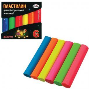 """Пластилин восковой флуоресцентный ГАММА """"Флюрики"""", 6 цветов, 55 г, картонная упаковка, 281034"""