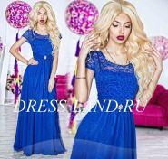 Синее платье в пол с кружевным лифом