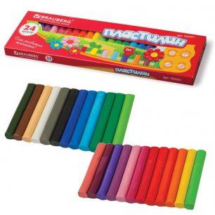 Пластилин классический BRAUBERG, 24 цвета, 500 г, высшее качество (Таиланд), картонная упаковка, 103351