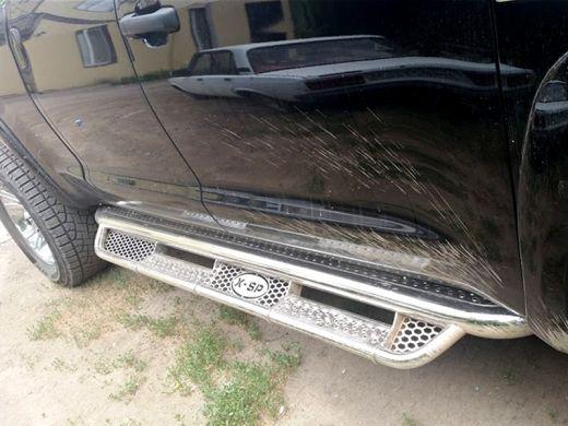 Пороги фигурные d-76+43 с нерж. листом Toyota Tundra Double Cab