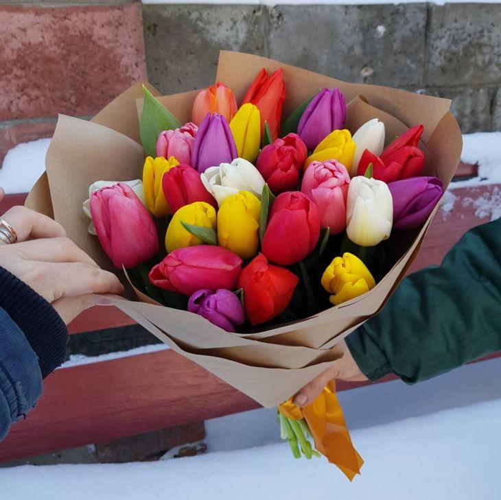 25 разноцветных тюльпан в Крафте