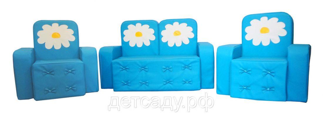 """Набор мягкой мебели """"Машенька"""" с аппликацией (диванчик + 2 кресла), прошивка бантики"""