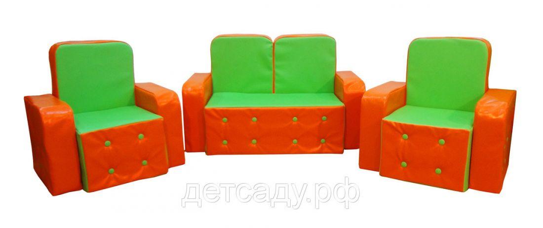 """Набор мягкой мебели """"Машенька"""" (прошивка пуговички), диванчик + 2 кресла"""