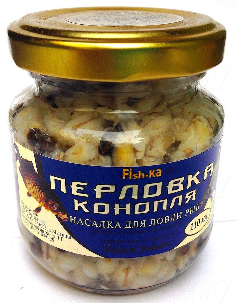 Консервированная натуральная насадка FISH.KA Перловка-Конопля (ваниль) объем 110 мл