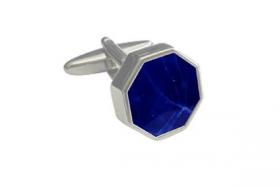 английские запонки в форме октагона с синим  содалитом OCTAGONAL  BLUE SODALITE SUNKEN INLAY