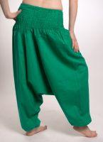 Женские однотонные штаны алладины из хлопка, зеленые, СПб