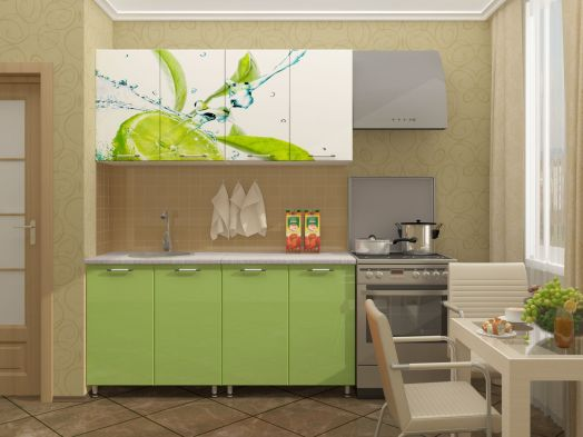 Кухня МДФ с фотопечатью Лайм 1,6 м