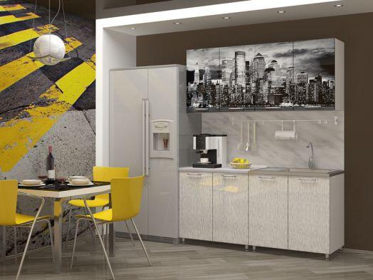 Кухня МДФ с фотопечатью Сити 1,6 м