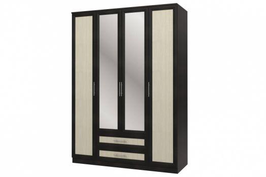 "Шкаф 4-х дверный с зеркалами СБ-074-01 ""Юлианна"" Дуб феррара"