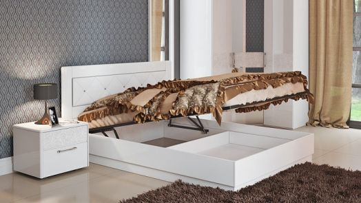 Кровать с подъемным механизмом «Амели» (Белый глянец, Белая со стразами)