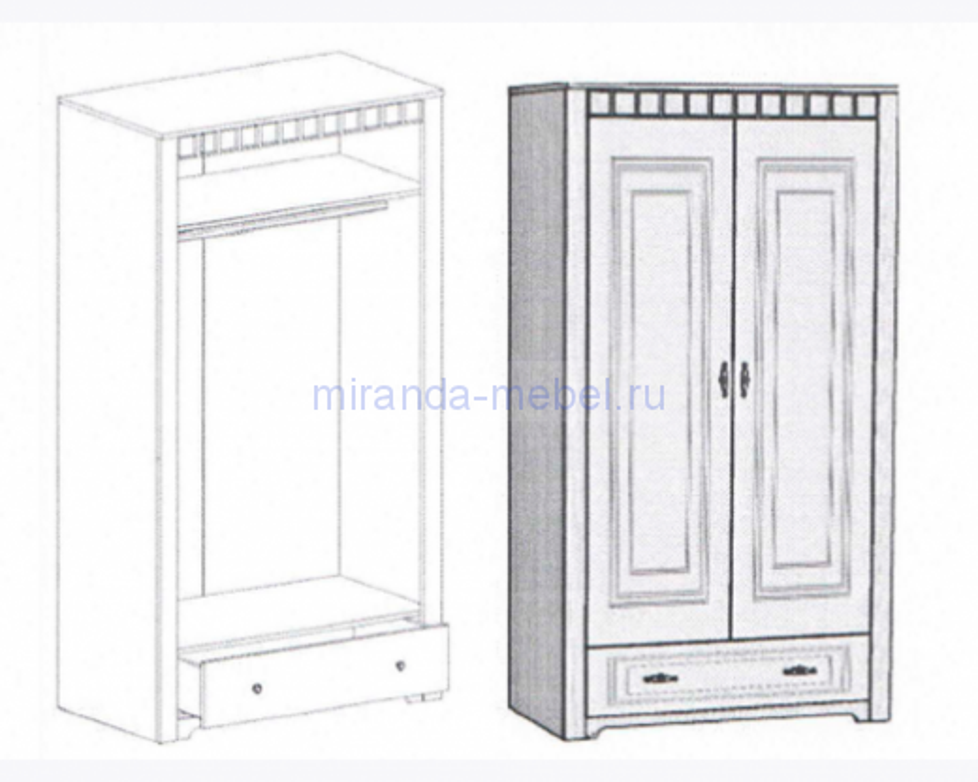 Прованс Шкаф с ящиком (590)