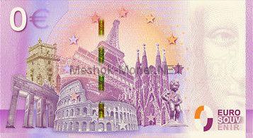 Памятная банкнота Россия 2018 0 евро Франция