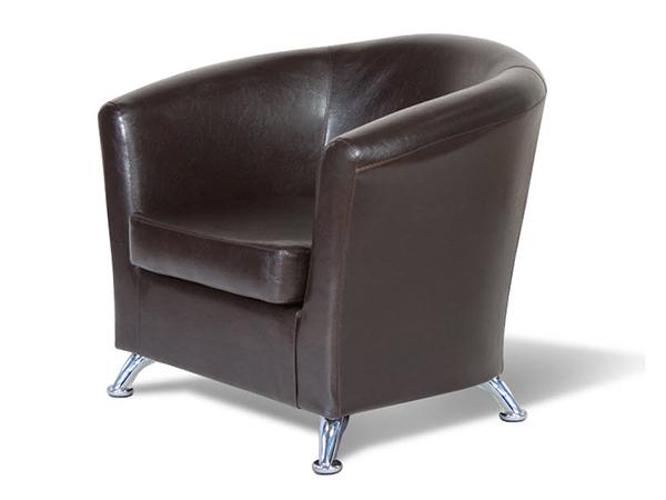 """Кресло для отдыха """"Евро"""" кож. зам. коричневый."""