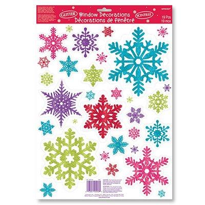 Наклейки на окно Снежинки разноцветные, 1 шт.