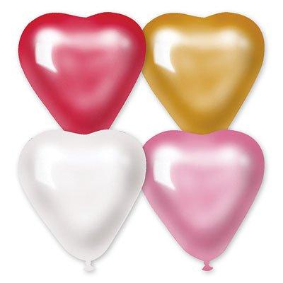 "Сердечко 10"" металлик красн/бел/роз/золото, 50 шт."