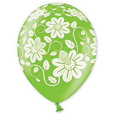 Воздушный шар шелкография металлик Цветы, 35 см, 25 шт.
