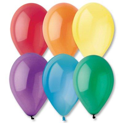 """Надувной шарик прозрачный 10"""", разноцветные, 100 шт."""