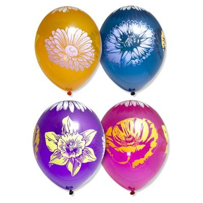 "Шары шелк кристалл 14"" Цветы, 5 цветов, 25 шт."