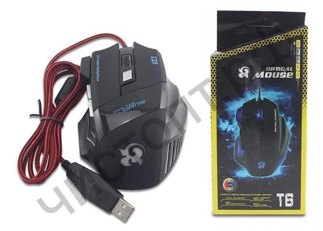 Мышь провод. игров. T6 (USB, 2400 dpi, оптическая, 6 кнопок)
