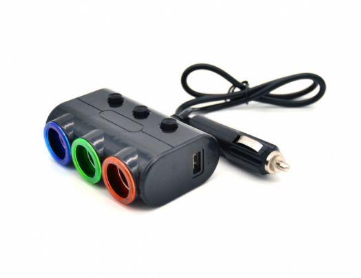 Разветвитель авто VEECLE HM-638 (3 гнезда+2*USB)